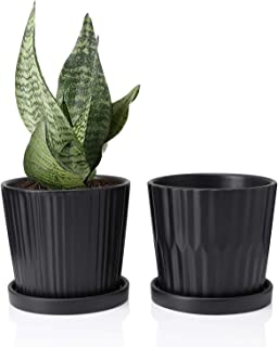 Greenaholics Medium Plant Pots - 6 Inch Black Cylinder Ceramic Planters with Attached Saucers, Two Line Grain, Great House and Office Decor, Set of 2