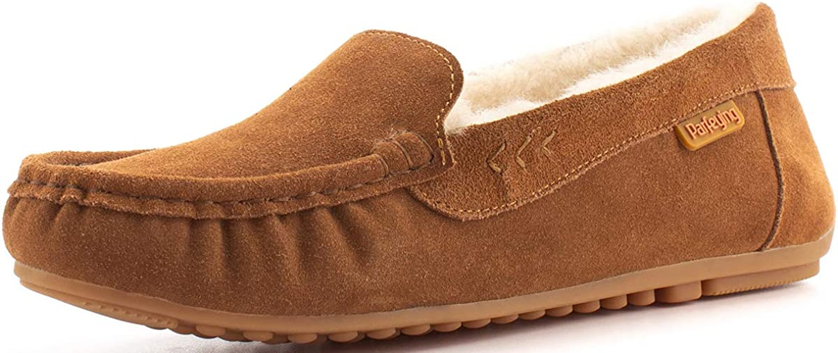 Parfeying Women's Sheepskin Moccasin Slippers Cow Suede Memory Foam Driving Style Loafers