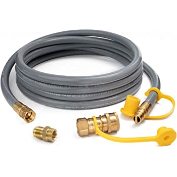 "GASPRO 12 Feet 1/2 ID Natural Gas Hose,Quick Connect Disconnect with 3/8"" Female by 1/2"" Male for Outdoor NG Appliance"