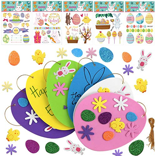 Easter Foam Stickers, Easter Tattoos Stickers, DIY Self-Adhesive Easter Eggs Bunnies Chicks Foam Stickers, for Kids Easter Day Party Crafts Card Making, Scrapbooking Embellishments Basket Decoration