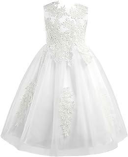 e6f4b5e0503b8 Freebily Fille Enfant Organza Robe Soirée Mariage Broderie Robe Demoiselle  d honneur Florale Robe Cérémonie