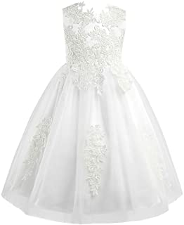 Oyolan Kids Girls Sleeveless Lace Special Occasion Dresses Flower Girls Dress Bridesmaid Wedding Pageant Formal Ball Gown