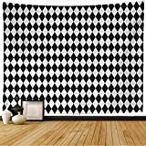 Starodet Tapestry Wall Hanging Tile Black Vintage White Monochrome Checkerboard Pattern Wall Circus Abstract Floor Textures Baby Wall Decor Blanket for Bedroom Home Dorm 80x60 Inch