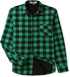 Boys' Men's Womens' Long Sleeve Plaid Fleece-Lined Family Matching Shirt