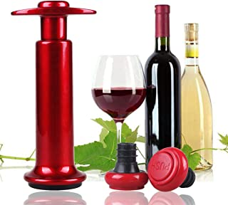 Vacuum Pump and Stoppers, Wine Preservers, Wine Savers,Wine Bottle Stoppers, Champagne Stoppers, 2 Reusable Air Bottle Stoppers and Sealer Red