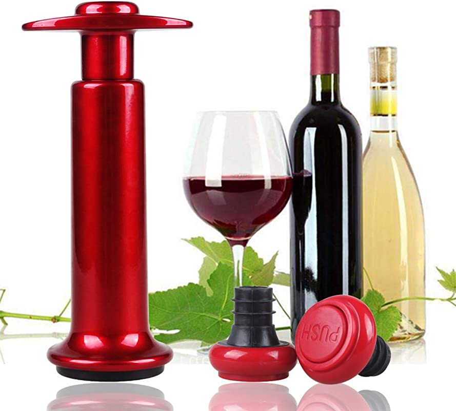 Vacuum Pump And Stoppers Wine Preservers Wine Savers Wine Bottle Stoppers Champagne Stoppers 2 Reusable Air Bottle Stoppers And Sealer Red