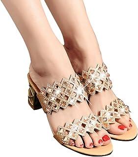 223db94e03c534 Serzul Women Summer Fashion Mid Heel Sandals Rhinestone Bohemia Shoes Beach  Sandal Plus Size Slipper