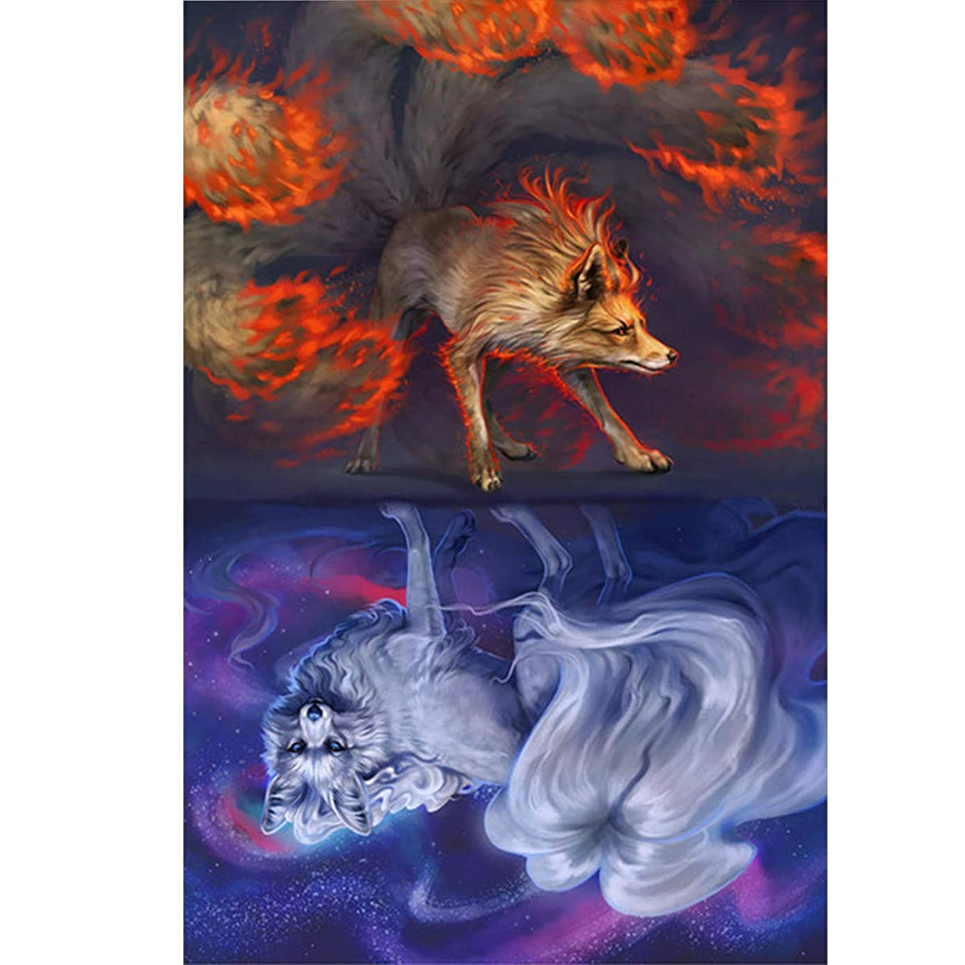 Diamond Painting Kit for Adults,5D Diamond Painting Full Drill Foxes Diamond Embroidery Pictures Arts Craft Home Wall Decor 12x16 inch(30x40cm)