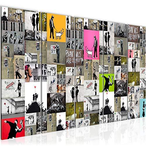 Bilder Collage Banksy Street Art Wandbild 150 x 60 cm Vlies - Leinwand Bild XXL Format Wandbilder Wohnzimmer Wohnung Deko Kunstdrucke Bunt 5 Teilig - MADE IN GERMANY - Fertig zum Aufhängen 302756a