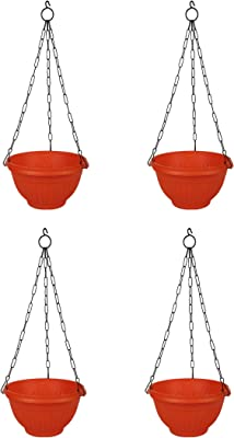 Gardens Need 100% Virgin Plastic Daizy Hanging   Set of 4 Hanging Planter, (22cm x 22cm x 24cm, Orange)