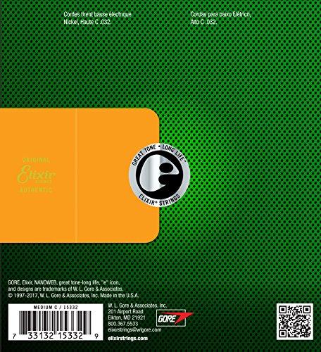 Elixirエリクサーベースバラ弦NANOWEBニッケル6弦用LongScale.032#15332【国内正規品】
