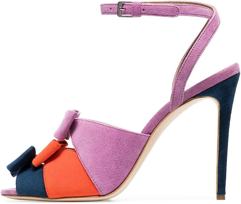 Europische und amerikanische Mode Sandalen Fisch Mund Farbe passenden High Heel Bow weibliche Sandalen Damenschuhe Gre JDF