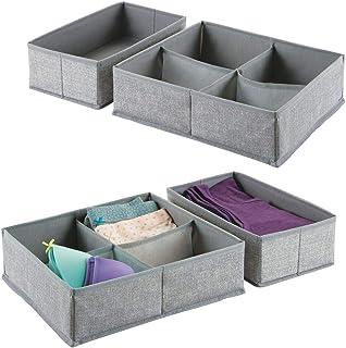 mDesign boîte de rangement pour armoire ou tiroir avec 4 compartiments (lot de 4) – boîte de rangement tissu idéale – pani...