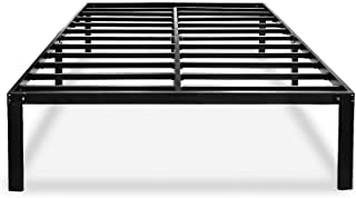 Black Queen Bed Frame Metal No Box Spring Needed 14 Inch Platform Heavy Duty Beds Frames with Storage, BQ