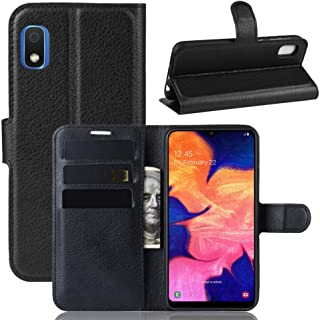 Sun Van Case and Screen Protector for Samsung Galaxy A10e, Wallet Leather Flip Stand Card Pocket Holder Slot Protective Stand Cover with Tempered Glass for SM-A102U (Black)