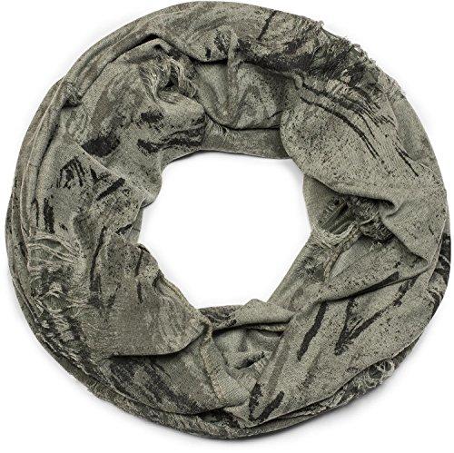 styleBREAKER Loop Schal gemustert im Destroyed Vintage used Look, Schlauchschal, Tuch, Unisex 01016150, Farbe:Oliv