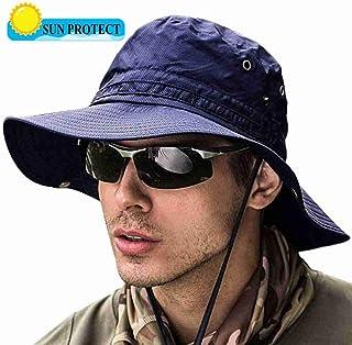 サファリハット UVカット?通気性抜群?速乾 アウトドア 帽子 ハット つば広 折りたたみ可能 あごひも付き 男女兼用