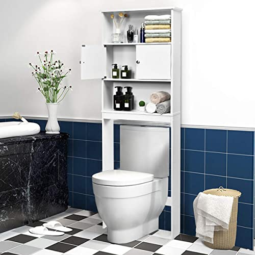 wholesale Giantex Over-The-Toilet Space Saver Storage Cabinet with lowest Three Layers & Two Doors Landing Bathroom Shelf, Home Compact Organizer Freestanding Wooden Tower online Rack online