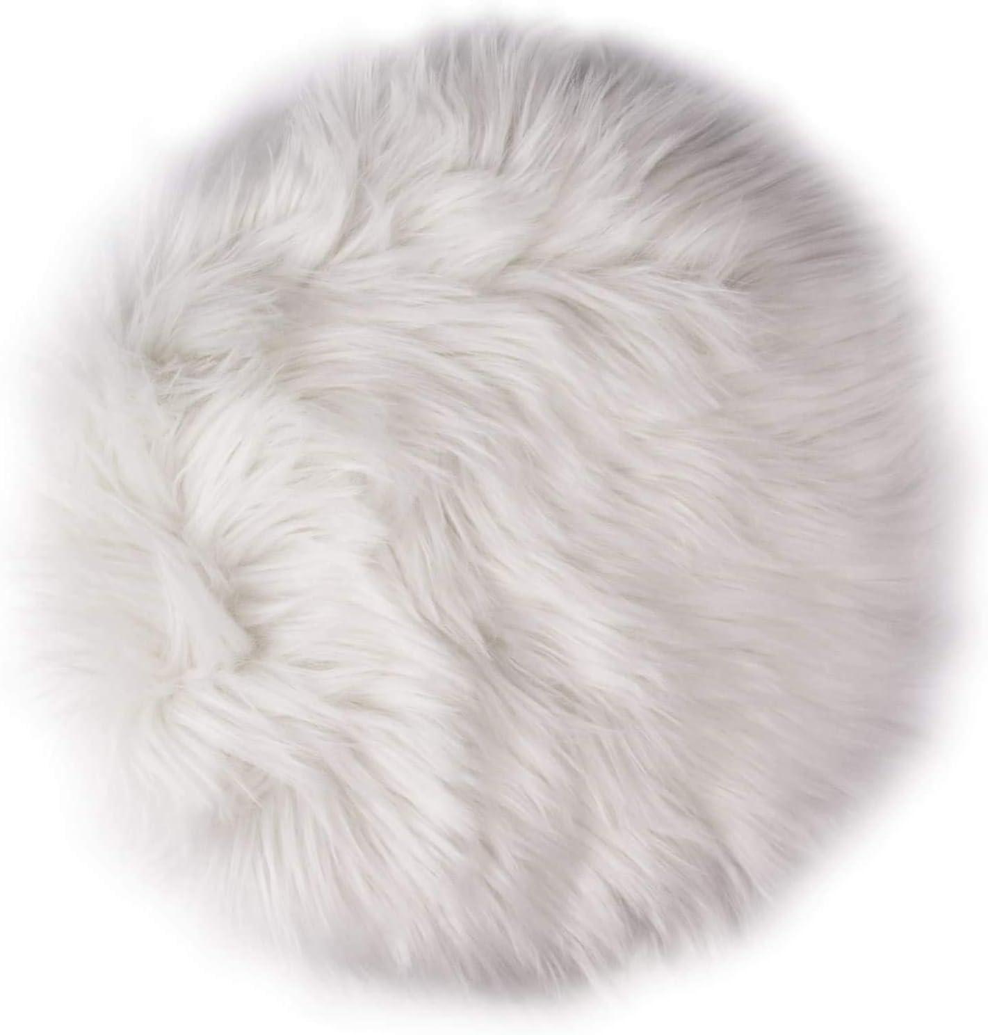 12 Fresno Mall Inches Cheap Mini Round Faux Fur Sheepskin Fluffy Room Living Rugs