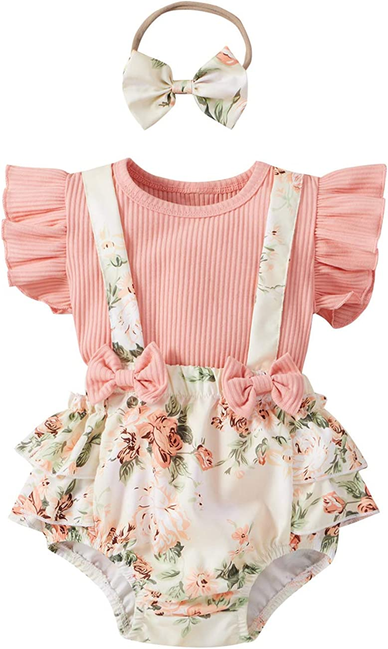 Baby Girl Ruffle Sleeve Knitted T-Shirt Floral Suspender Shorts with Headband Summer Outfits