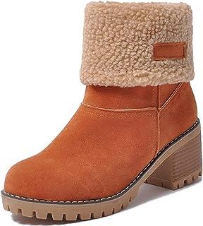 Sponsored Ad - SO SIMPOK Women's Slip On Warm Ankle Boots Block Heel Winter Boots