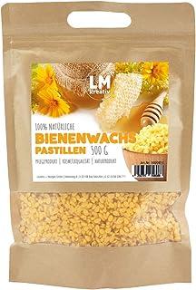 LM Bio Bienenwachs Pastillen, 500g - Gelb - Natürliches reines Bienenwachs geeignet für Kosmetik, Bienen-Wachstücher, Kerzenherstellung und Leder-/Holzpflege