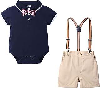 Bebés 4 Piezas Trajes de Bautizo Polo Camisa Corbata de moño+ Tirantes Shorts Correa, Niños Formales Fiesta Conjunto de Ropa de Niños Conjuntos 0-24 M