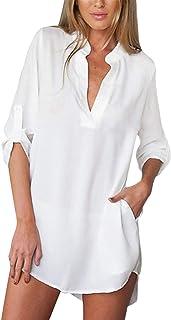 ZANZEA Donna Camicetta Sexy V-Neck Maniche Lunghe Orlo Irregolare Colore Solido Bluse Chiffon Pullover 01-Bianco Materiale...