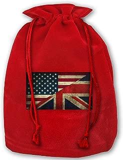 UK and USA Flag Velvet Christmas Gift Bag 14