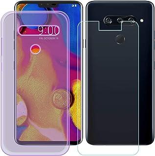 YZKJ Fodral för LG V40 ThinQ Cover lila mjuk silikon skyddande skal TPU skal fodral pansarglas skärmskydd för LG V40 ThinQ...