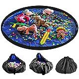 LandJoy Bolsa de Almacenamiento de Juguetes para Niños Bebé Impermeable y Plegable Bolsa de Almacenamiento de Juguetes los De Gran Tamaño Children Play Mat 60 Pulgadas(150cm,Azul)
