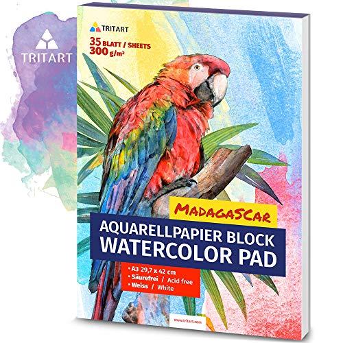 HOCHWERTIGES Aquarellpapier A3 | 300g | Weiß | 35 Blatt | A3 Aquarellblock | XXL von Tritart