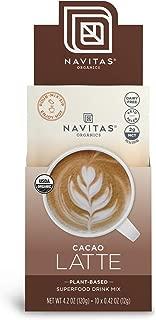 Navitas Organics Cacao Latte, 10 Single Serve Pouches — Organic, Non-GMO, Dairy-Free