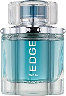 Edge Intense for Men, Aromatic Eau de Toilette with Sultry Apple, Black Currant, Ginger, Pineapple, Amber, Musk, Oakmoss and Vanilla by Swiss Arabian