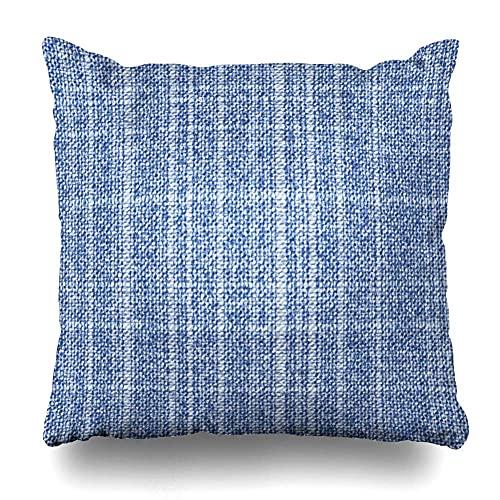 AlineAline Funda de almohada de yute azul rugoso geométrico jeans patrón realista relleno vintage jacquard lona hoja con cremallera 45,7 x 45,7 cm