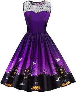 iLOOSKR Plus Size Pleated Dress Women Halloween Vintage Pattren Printing Party Prom Dress