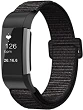 Fintie Band for Fitbit Charge 2, Breathable Nylon Sport Replacement Strap Wrist Bands with Adjustable Closure for Fitbit Charge 2 HR Smart Fitness Tracker, Black