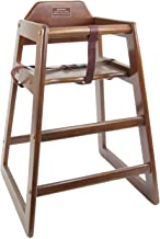 TigerChef Wood High Chairs in Walnut Finish with Safety Harness On Both Sides and A Wide Stance to Avoid Tipping Over Dimensions: 28-1/10