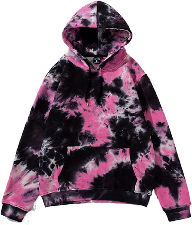 Unisex Tie Dye Pullover Hoodies Hip hop Casual Long Sleeves Fleece Hooded Thick Pocket Drawstring Hood Sweatshirt Tops