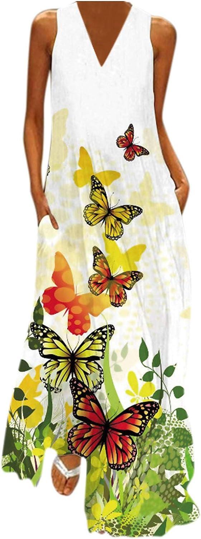 WUAI Women's Summer Sleeveless Loose Plain Maxi Dress Plus Size Boho V Neck Loose Summer Beach Tunic Long Dress