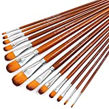 Artist Filbert Paint Brushes Set 13pcs, Soft Anti-Shedding Nylon Hair Wood Long Handle for Acrylic Oil Watercolor Gouache Paint by Numbers (13pcs)