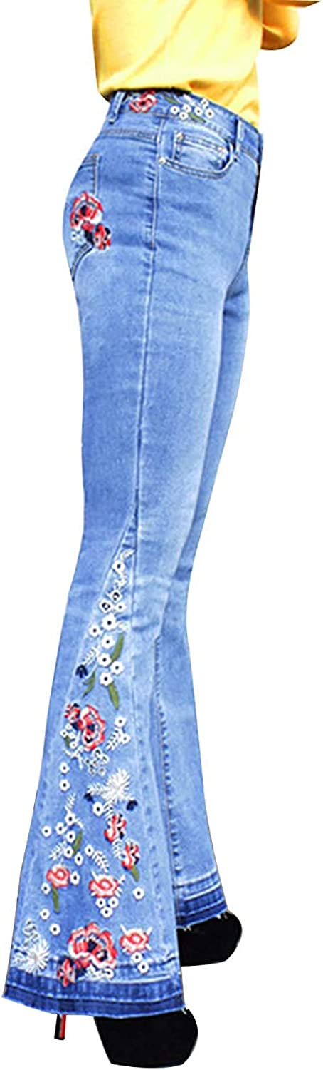 Bell Bottom Jeans for Women Flared Floral Embroidered Jean Wide Leg Denim Pants