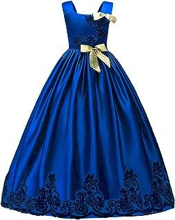 179e9d39b4316 HUANQIUE Elégante Robe en Dentelle Princesse Demoiselle Fille Robe de  Mariage Cérémonie Soirée Enfant Broderie Fleur