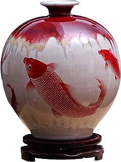 Jarrones Florero de cerámica pintado a mano roja de la carpa decorativo florero dos estilos for la decoración casera Sa...