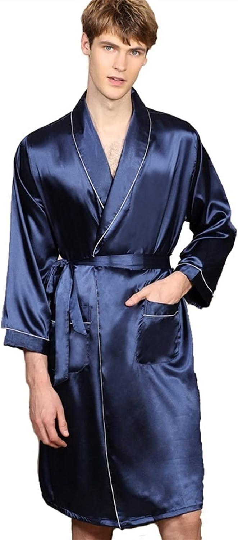 XJYWJ Men Robe V-Neck Silk Striped S Max 58% OFF Max 58% OFF Bathrobe Men's Section