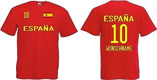 Spanien-Espana Herren T-Shirt EM 2020 Wunschname & Nummer Trikot Look Style