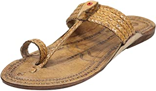 KALAPURI Authentic Pure Vegetable Tanned Leather with Broad Braids Upper and Leather stictching Traditional Hand Punched N...