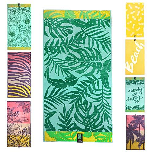 jilda-tex Strandtuch 90x180 cm Badetuch Strandlaken Handtuch 100% Bio-Baumwolle Velours Frottier Pflegeleicht (Monstera Jungle)