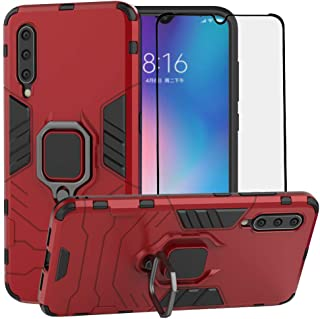 BestAlice for Xiaomi Mi 9 Case, Hybrid Heavy Duty Protection Shockproof Defender Kickstand Armor Case Cover Tempered Glass Screen Protector,Red