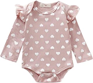 Weixinbuy Baby Girl's Clothes Flare Sleeve Crewneck Heart Print Romper One Piece Bodysuit for Baby 0-18 Months